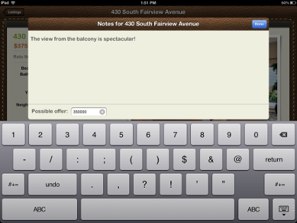 iPad App Customer Notes/Offers Screen