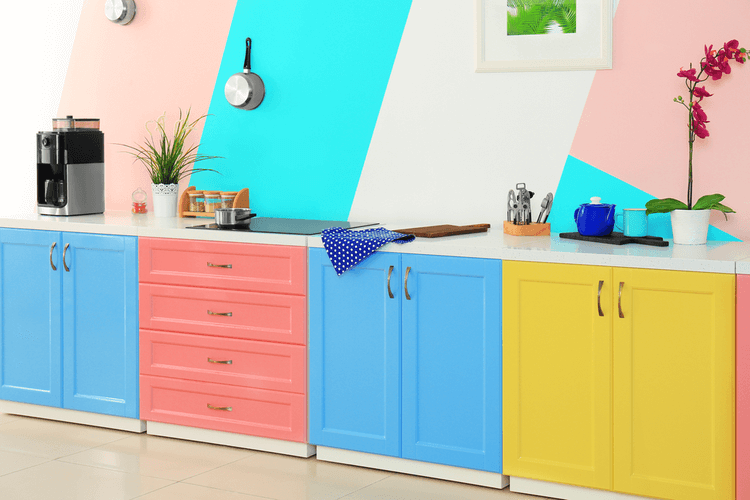 Colorful kitchen with painted cabinets