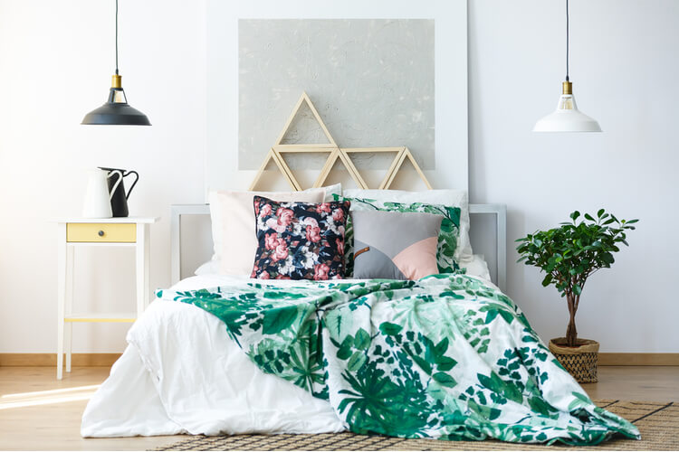 floral pattern on bedroom pillow