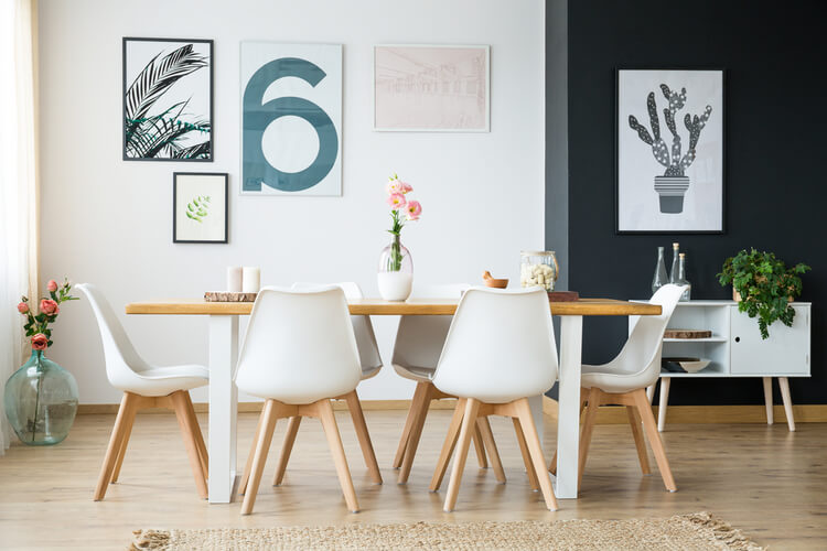 large dining room table with decor
