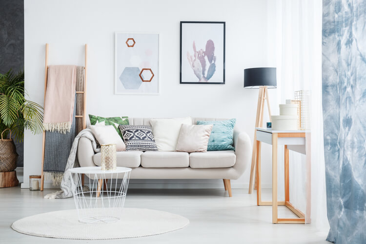 small living room with light furniture