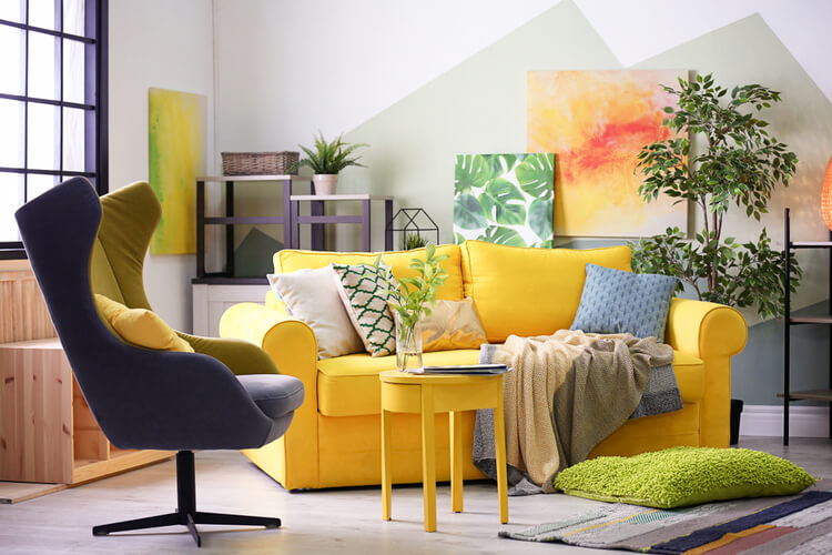 small living room with bright yellow sofa