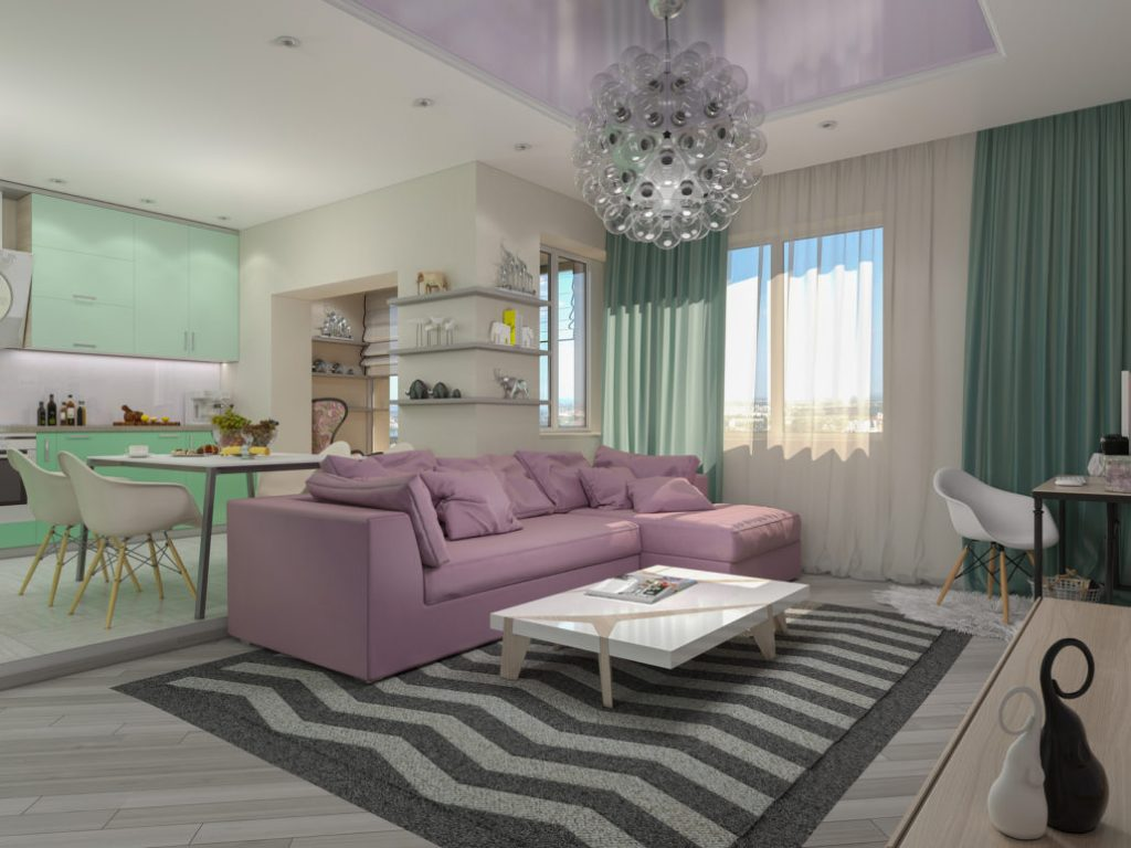 3d illustration of small apartments in pastel colors. Green modern kitchen living room