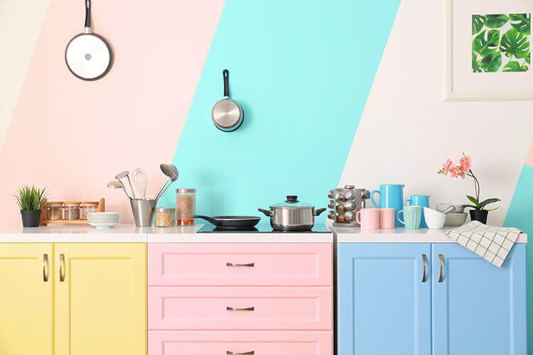 colored cabinets in kitchen