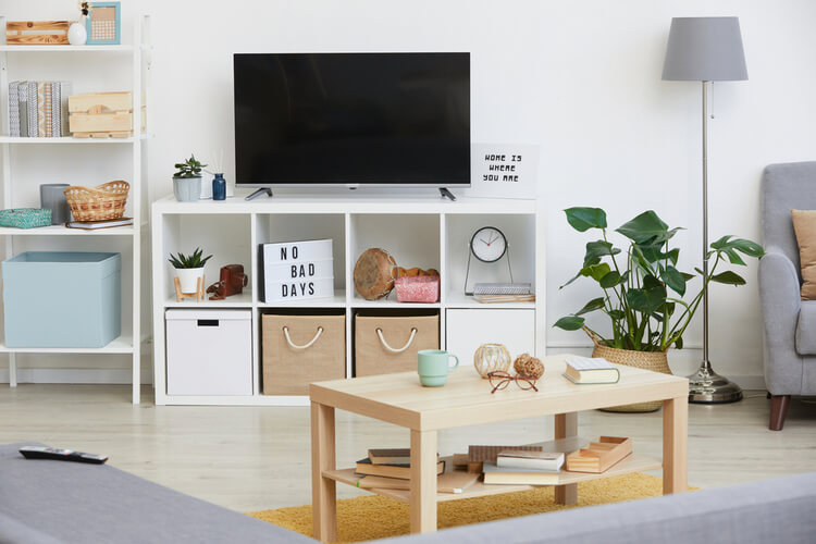 Modern small space interior with storage options